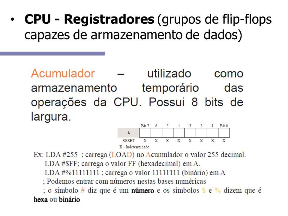 CPU - Registradores (grupos de flip-flops capazes de armazenamento de dados)