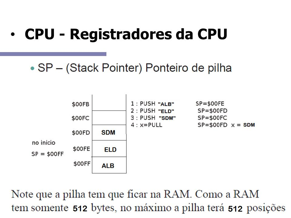 CPU - Registradores da CPU