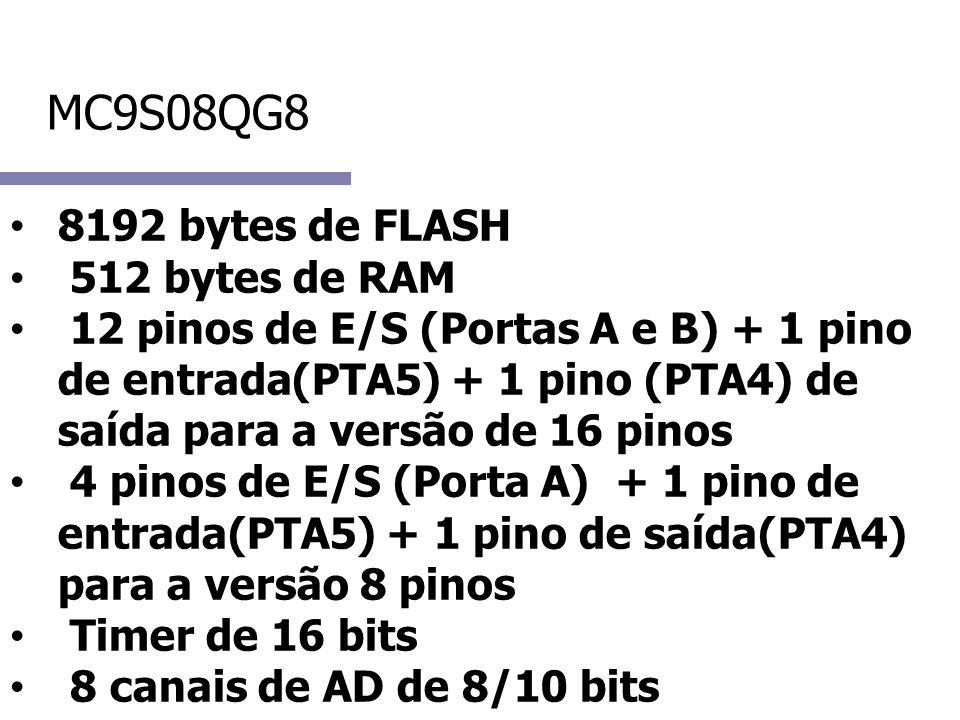 MC9S08QG8 8192 bytes de FLASH. 512 bytes de RAM.