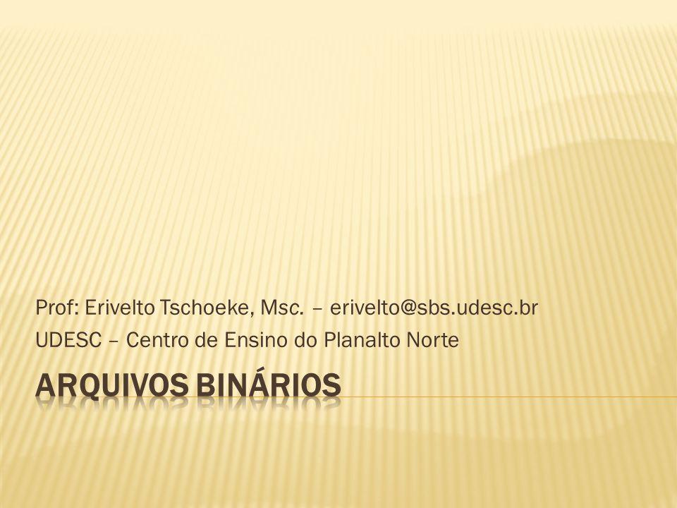 Prof: Erivelto Tschoeke, Msc. – erivelto@sbs.udesc.br