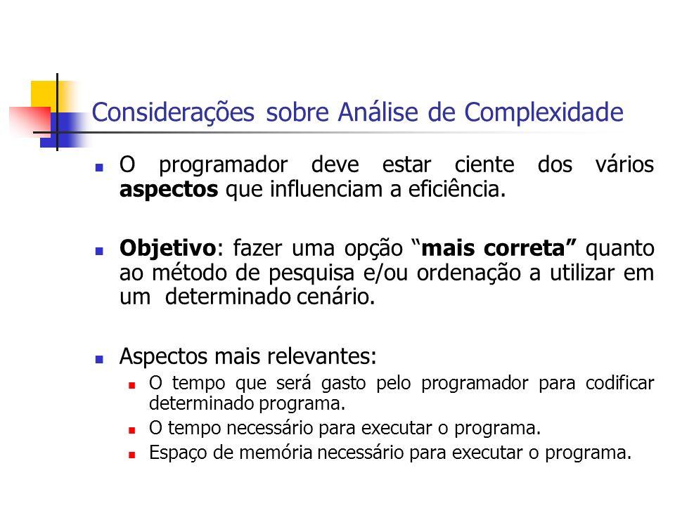 Considerações sobre Análise de Complexidade