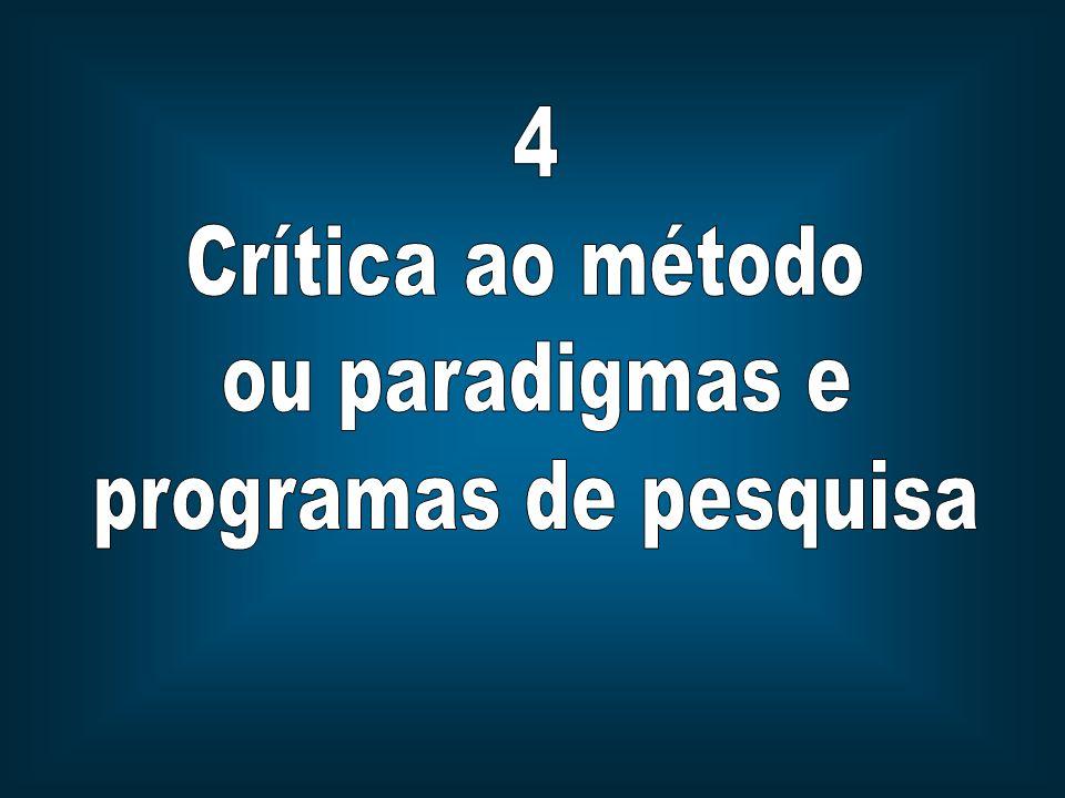 4 Crítica ao método ou paradigmas e programas de pesquisa