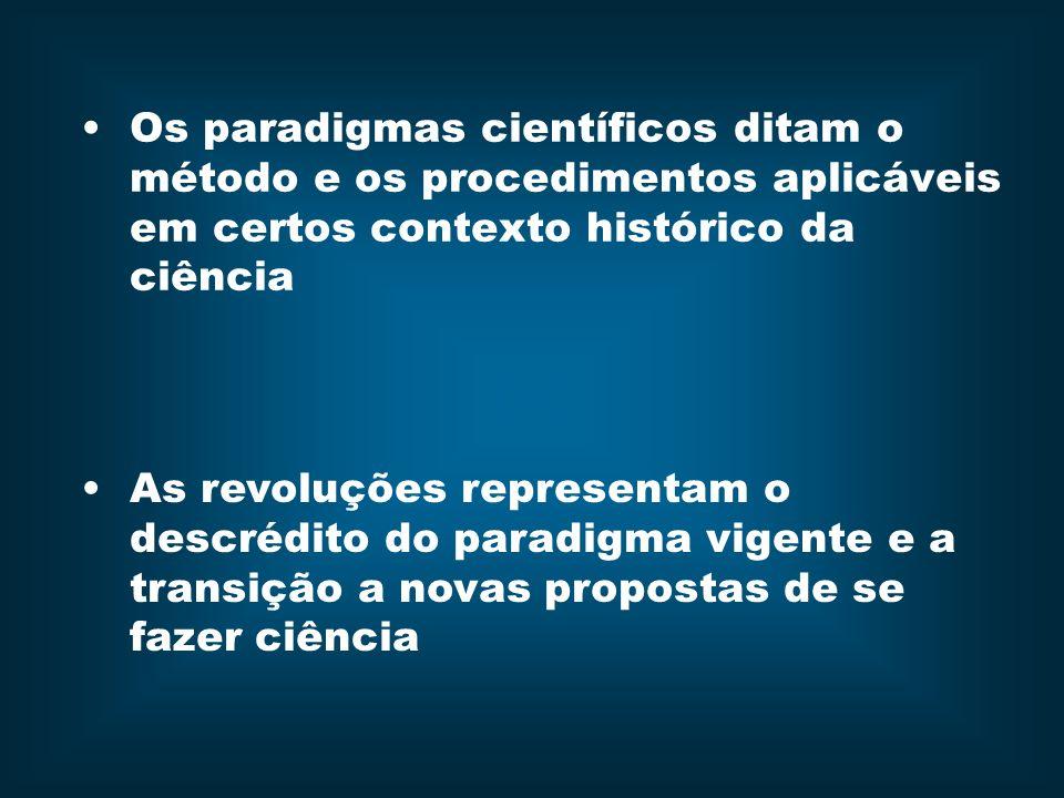 Os paradigmas científicos ditam o método e os procedimentos aplicáveis em certos contexto histórico da ciência