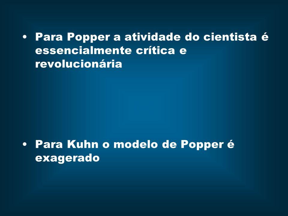 Para Popper a atividade do cientista é essencialmente crítica e revolucionária