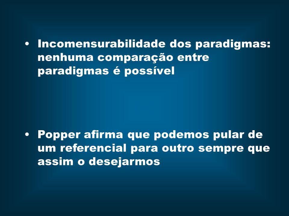 Incomensurabilidade dos paradigmas: nenhuma comparação entre paradigmas é possível