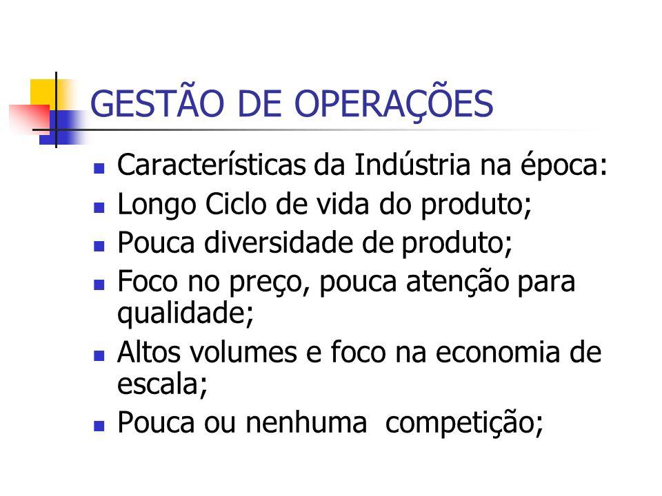 GESTÃO DE OPERAÇÕES Características da Indústria na época: