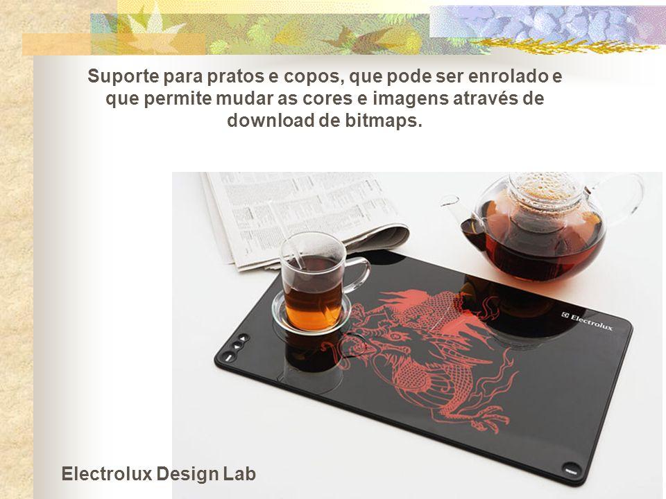Suporte para pratos e copos, que pode ser enrolado e que permite mudar as cores e imagens através de download de bitmaps.