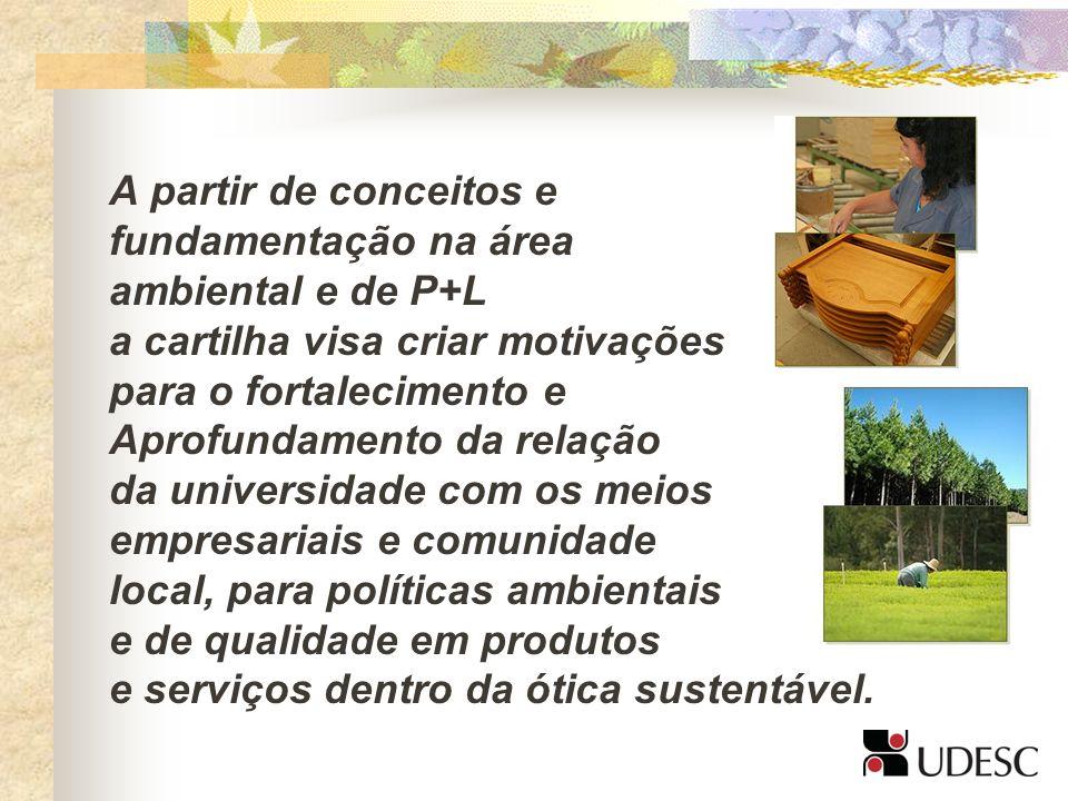 A partir de conceitos efundamentação na área. ambiental e de P+L. a cartilha visa criar motivações.