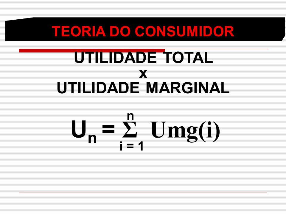 Un = Σ Umg(i) UTILIDADE TOTAL x UTILIDADE MARGINAL