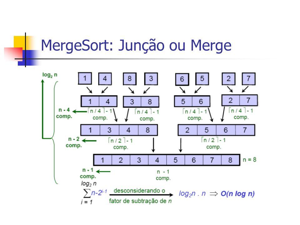 MergeSort: Junção ou Merge