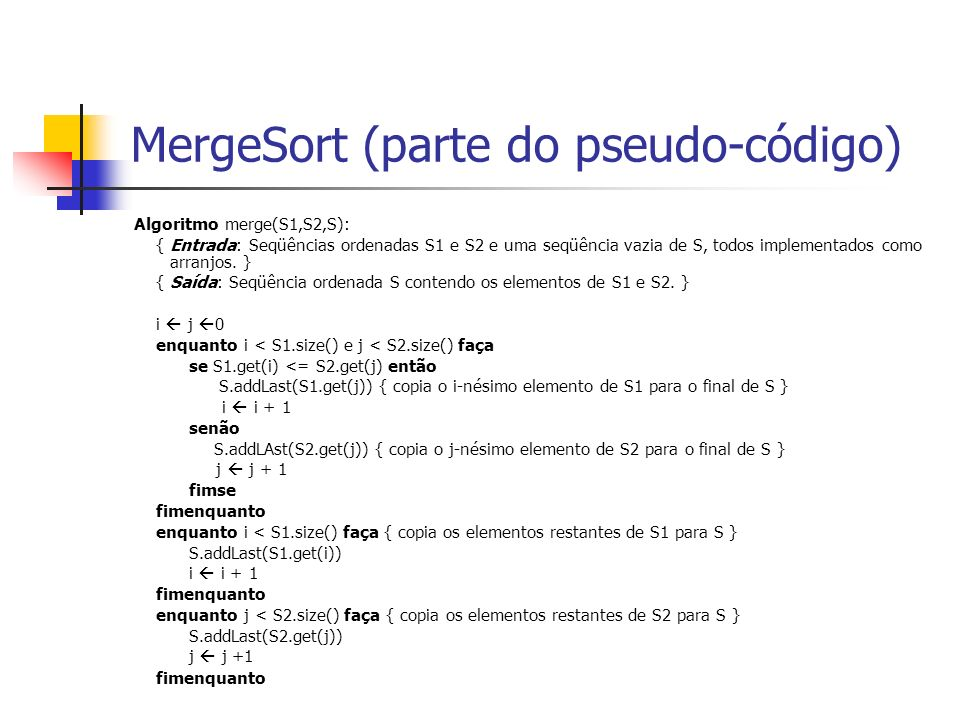 MergeSort (parte do pseudo-código)
