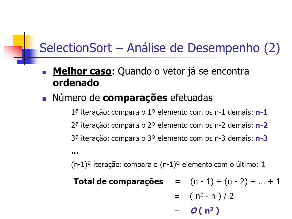 SelectionSort – Análise de Desempenho (2)