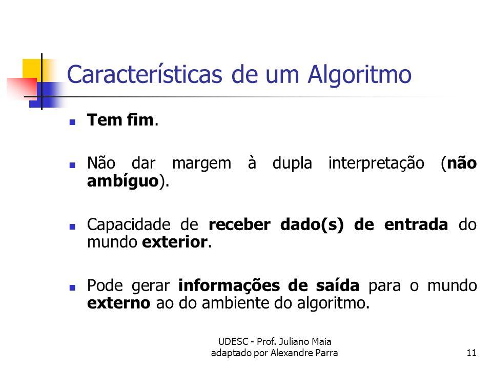 Características de um Algoritmo