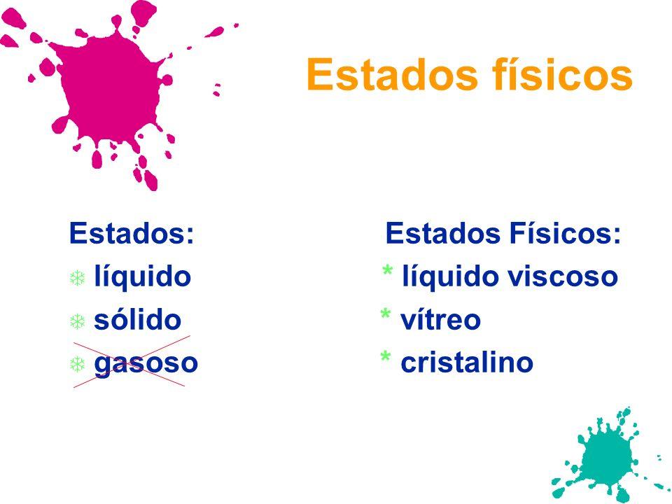 Estados físicos Estados: Estados Físicos: líquido * líquido viscoso