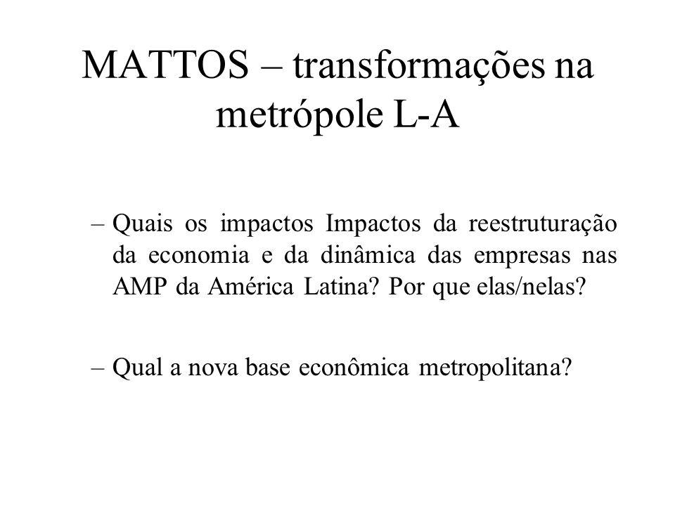 MATTOS – transformações na metrópole L-A