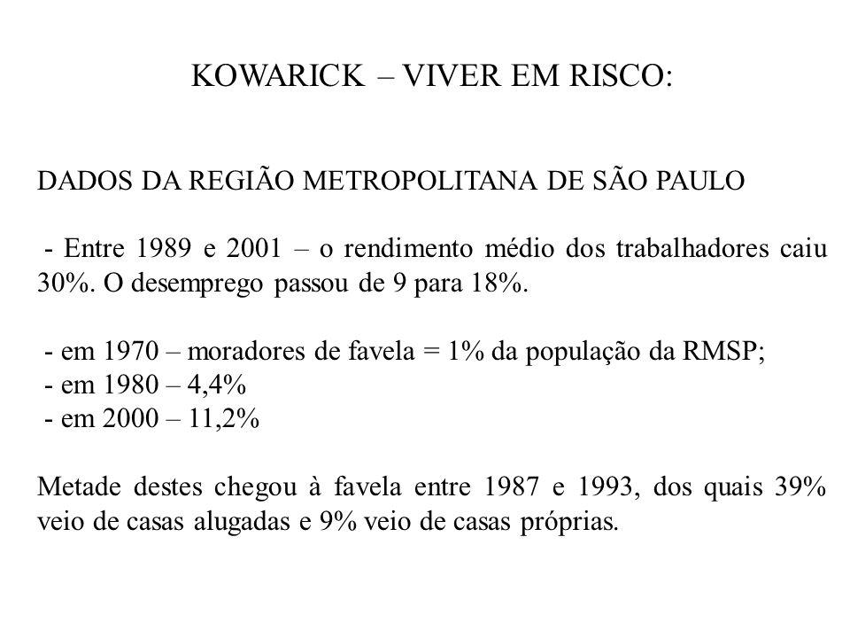 KOWARICK – VIVER EM RISCO: