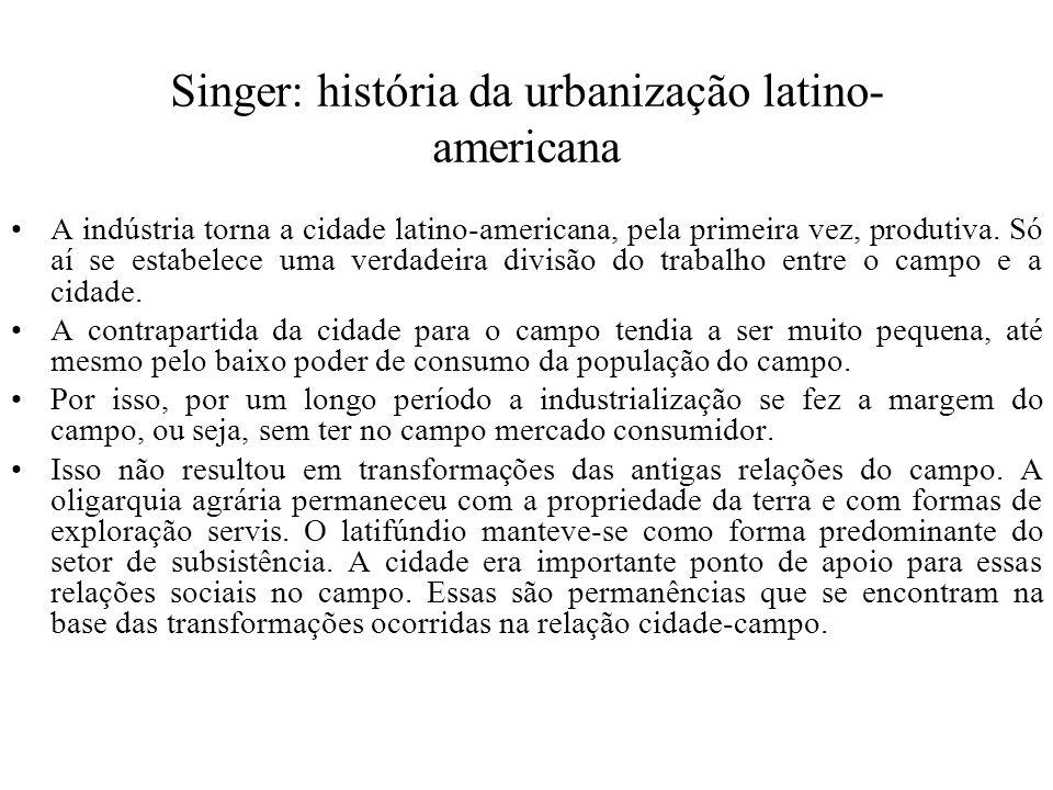 Singer: história da urbanização latino-americana