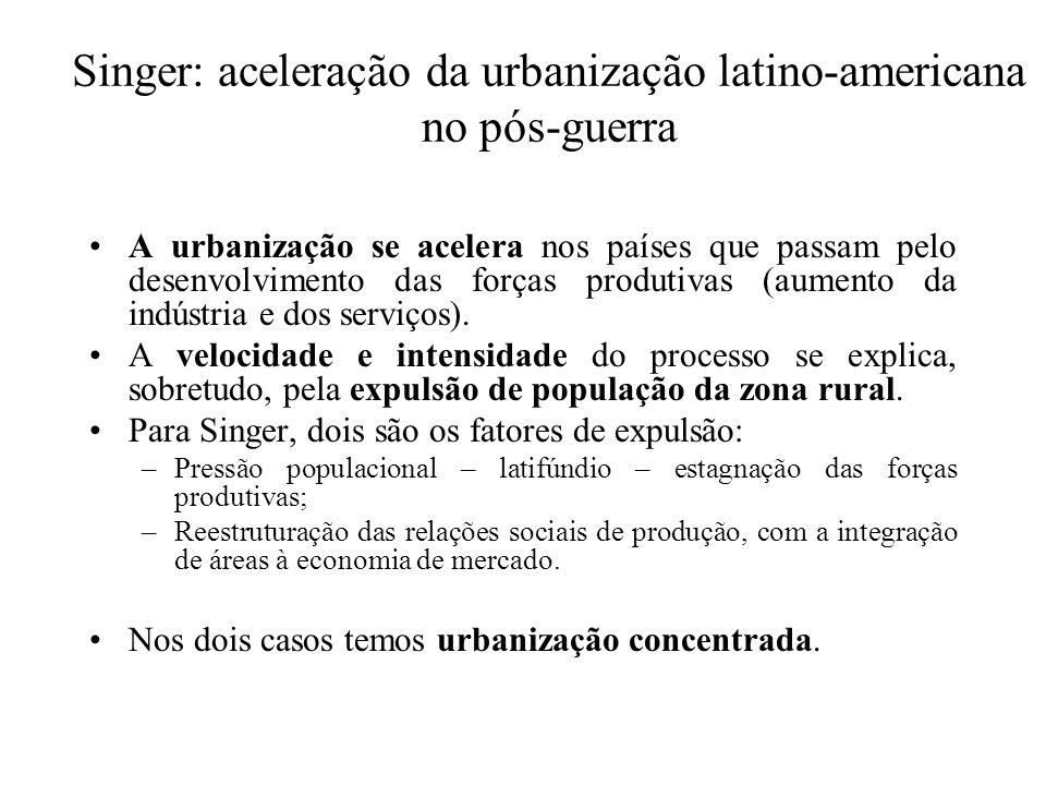 Singer: aceleração da urbanização latino-americana no pós-guerra