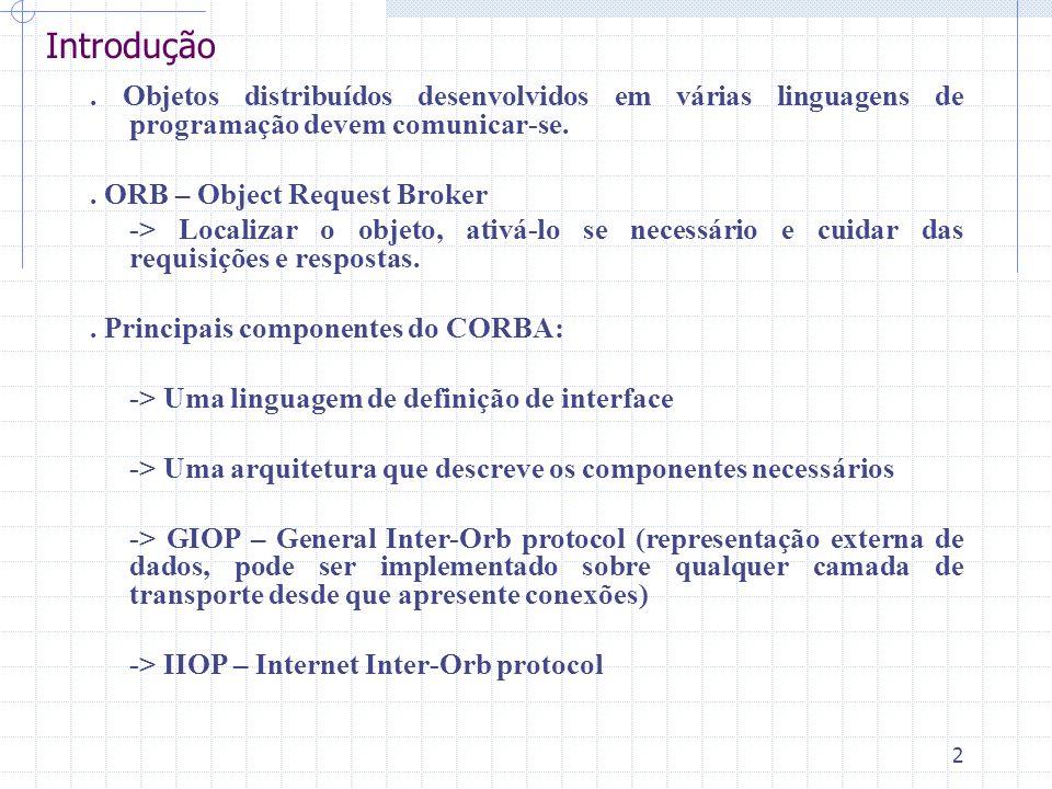 Introdução . Objetos distribuídos desenvolvidos em várias linguagens de programação devem comunicar-se.