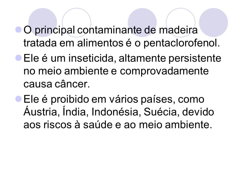 O principal contaminante de madeira tratada em alimentos é o pentaclorofenol.