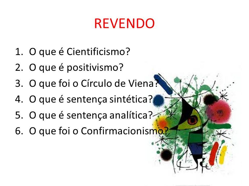 REVENDO O que é Cientificismo O que é positivismo