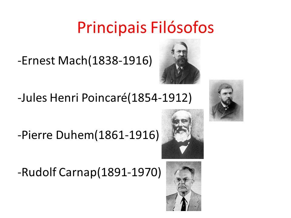 Principais Filósofos -Ernest Mach(1838-1916) -Jules Henri Poincaré(1854-1912) -Pierre Duhem(1861-1916) -Rudolf Carnap(1891-1970)