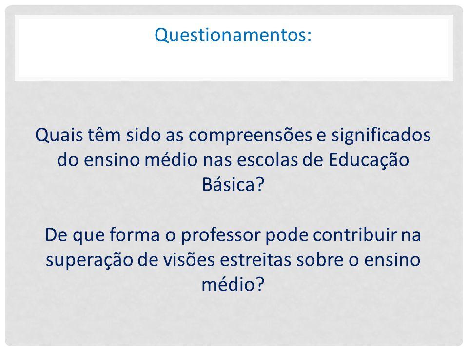 Questionamentos: Quais têm sido as compreensões e significados do ensino médio nas escolas de Educação Básica.