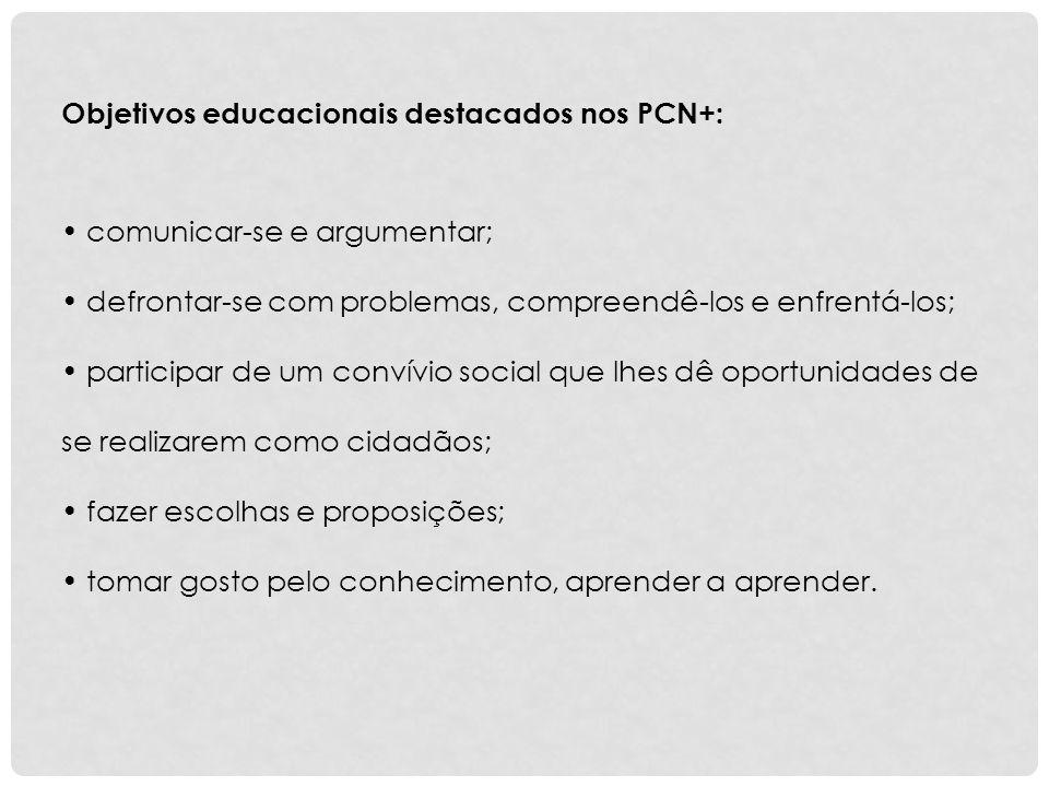 Objetivos educacionais destacados nos PCN+: