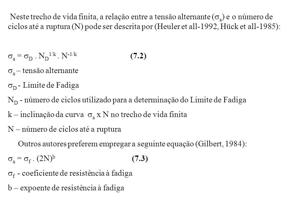 Neste trecho de vida finita, a relação entre a tensão alternante (sa) e o número de ciclos até a ruptura (N) pode ser descrita por (Heuler et all-1992, Hück et all-1985):