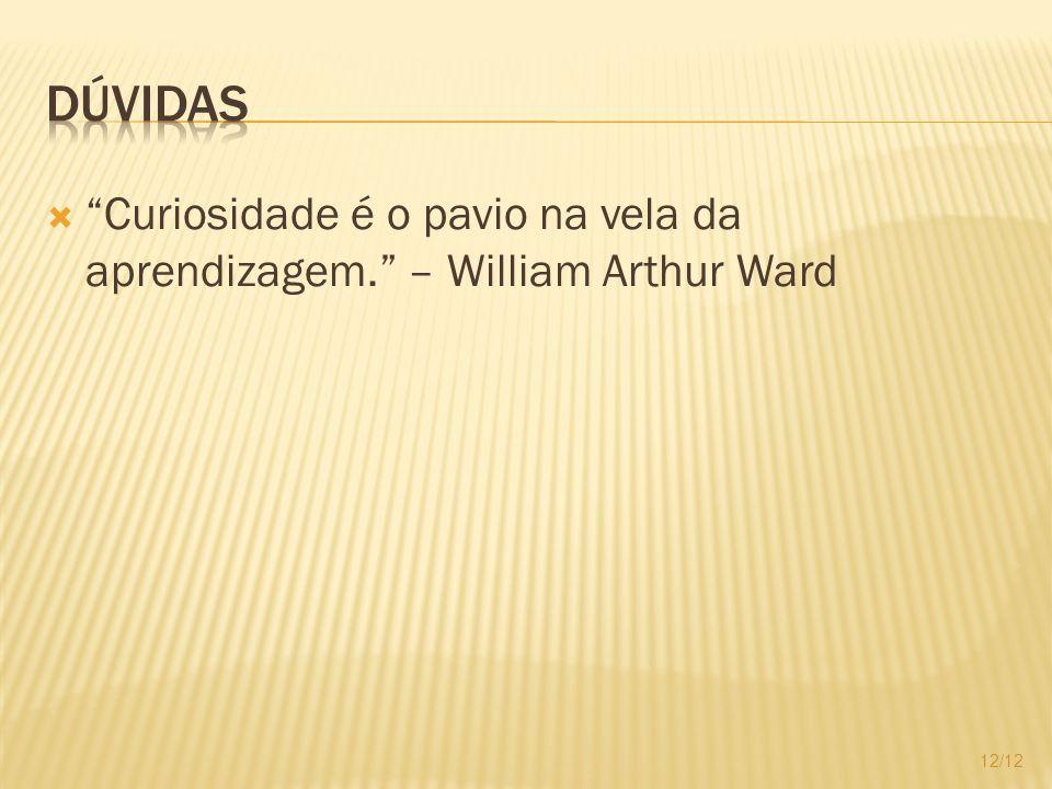 Dúvidas Curiosidade é o pavio na vela da aprendizagem. – William Arthur Ward