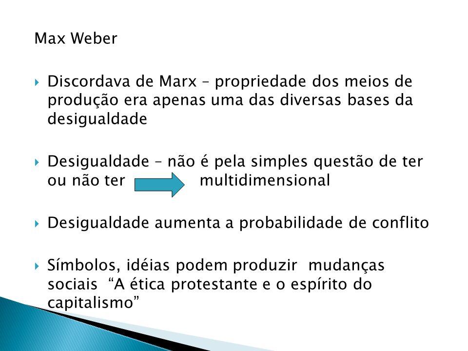 Max Weber Discordava de Marx – propriedade dos meios de produção era apenas uma das diversas bases da desigualdade.
