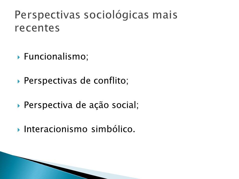 Perspectivas sociológicas mais recentes