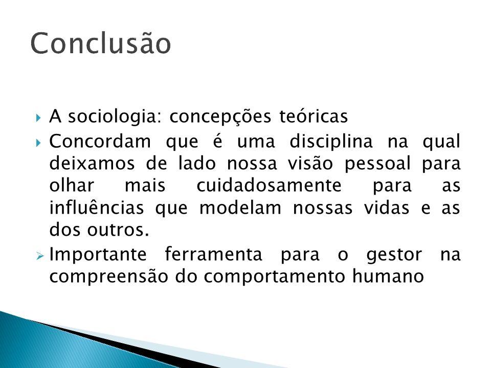Conclusão A sociologia: concepções teóricas