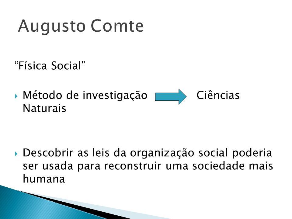 Augusto Comte Física Social Método de investigação Ciências Naturais