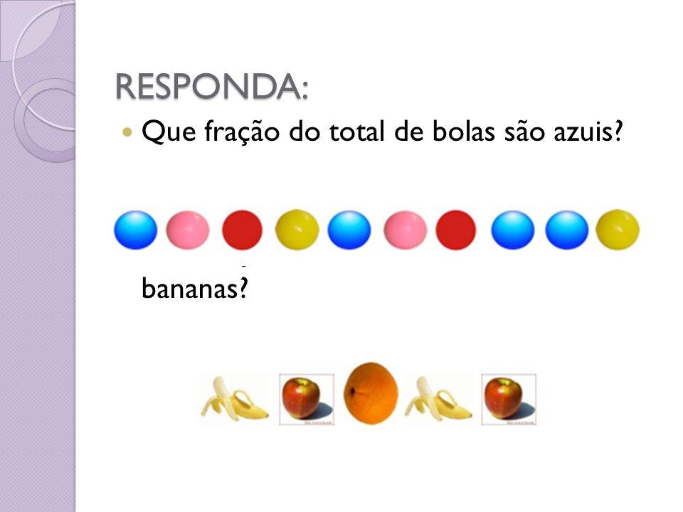 RESPONDA: Que fração do total de bolas são azuis