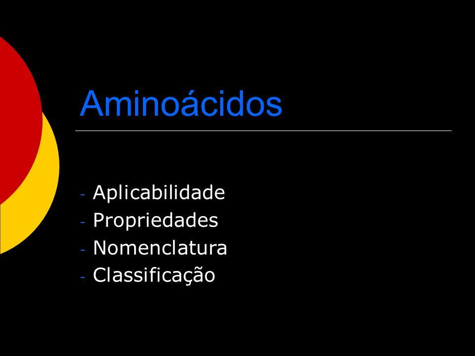 Aplicabilidade Propriedades Nomenclatura Classificação