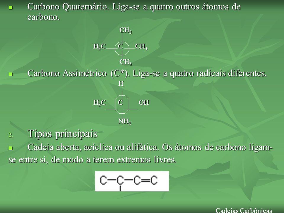 Carbono Quaternário. Liga-se a quatro outros átomos de carbono.