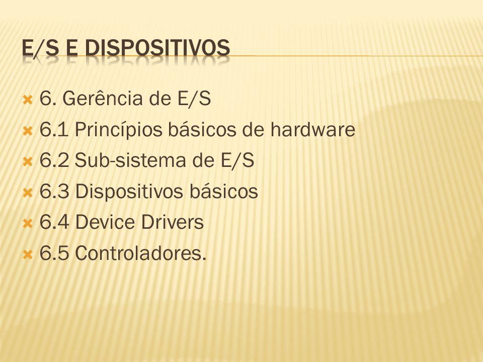 e/s e dispositivos 6. Gerência de E/S