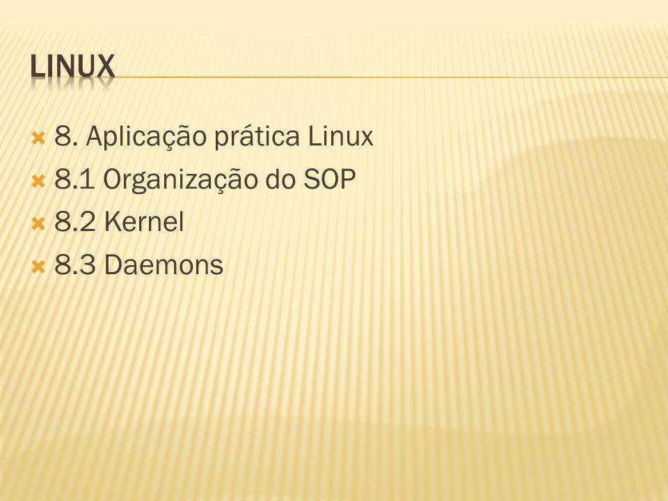 linux 8. Aplicação prática Linux 8.1 Organização do SOP 8.2 Kernel