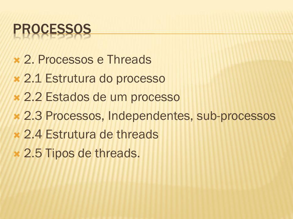 Processos 2. Processos e Threads 2.1 Estrutura do processo