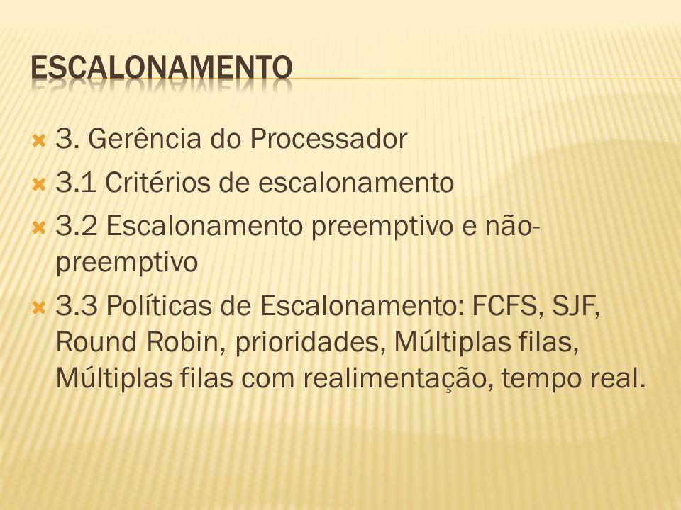 Escalonamento 3. Gerência do Processador