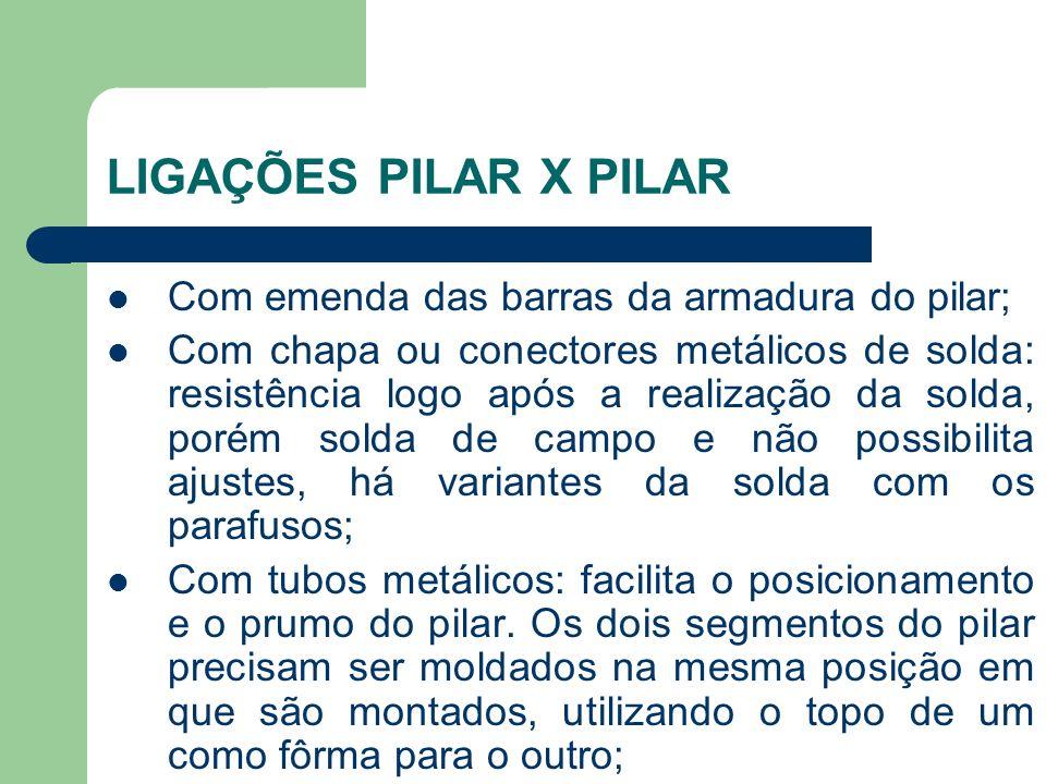 LIGAÇÕES PILAR X PILAR Com emenda das barras da armadura do pilar;