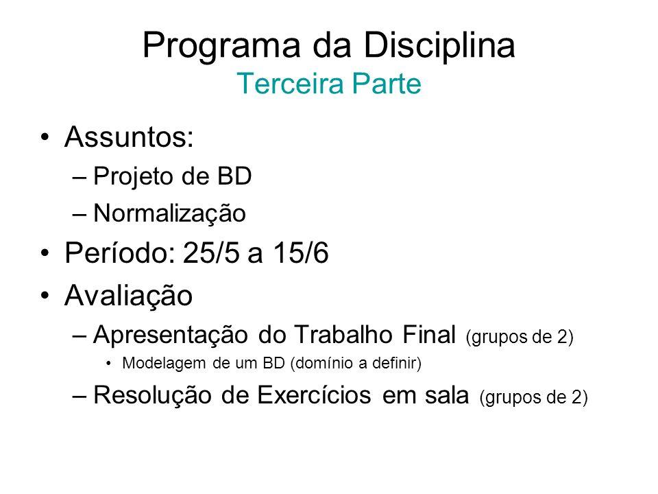 Programa da Disciplina Terceira Parte