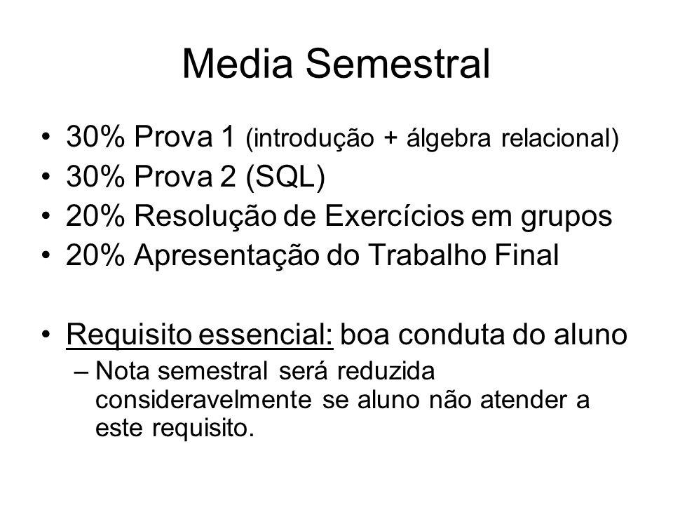 Media Semestral 30% Prova 1 (introdução + álgebra relacional)