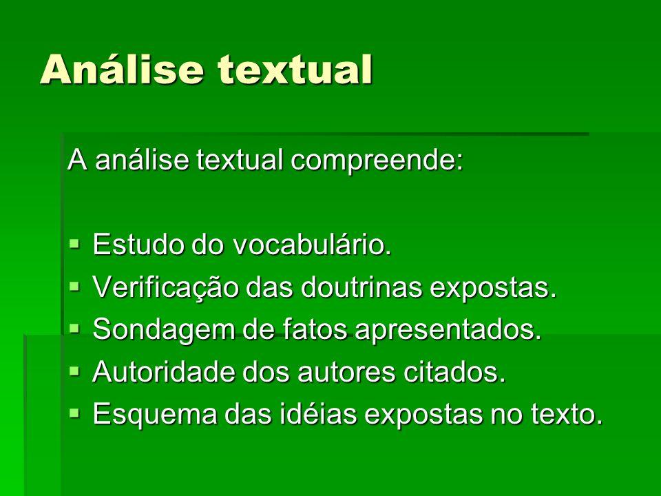 Análise textual A análise textual compreende: Estudo do vocabulário.
