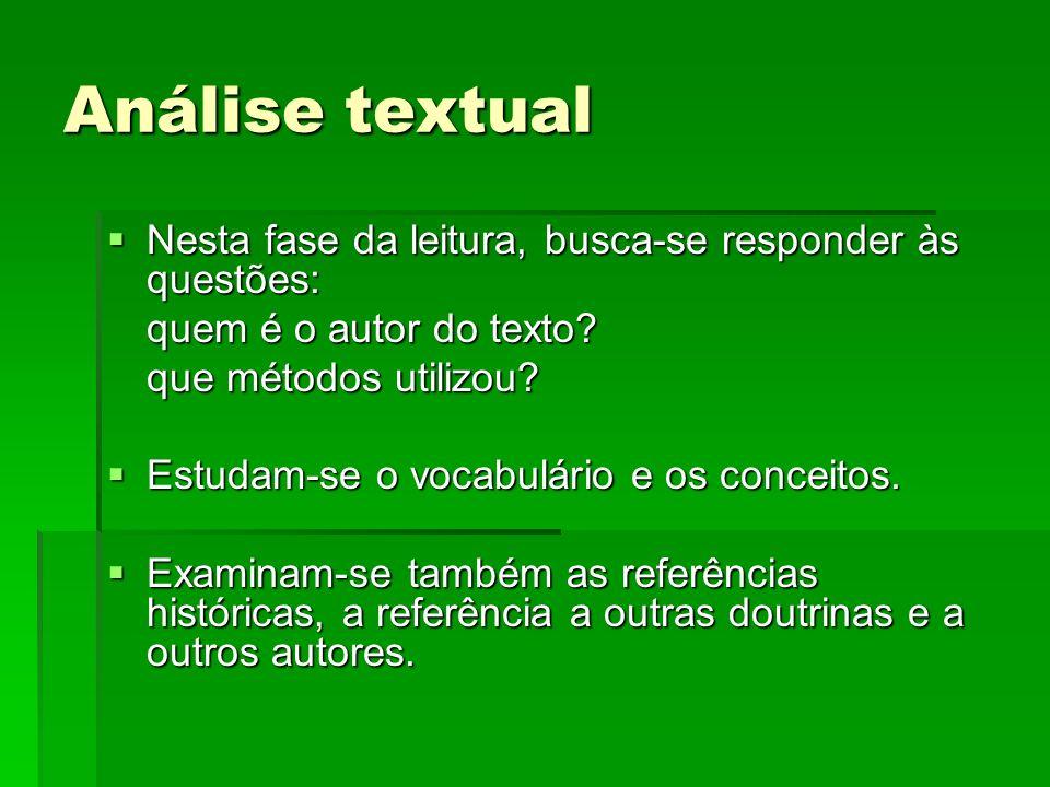 Análise textual Nesta fase da leitura, busca-se responder às questões: