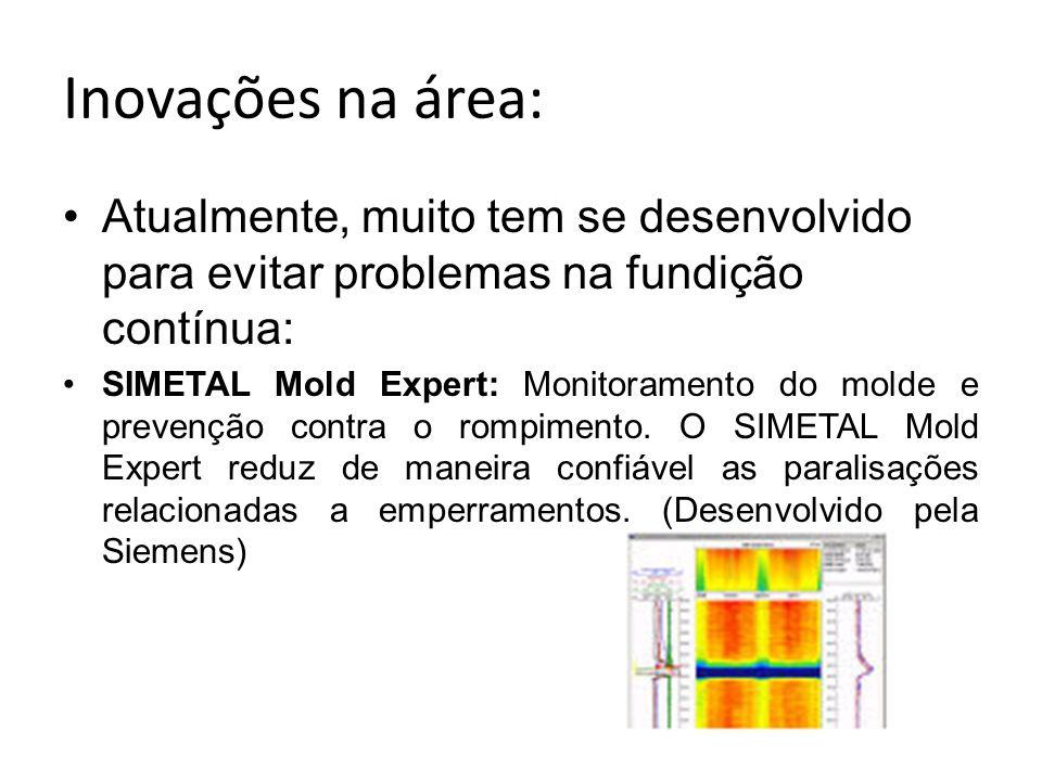 Inovações na área:Atualmente, muito tem se desenvolvido para evitar problemas na fundição contínua: