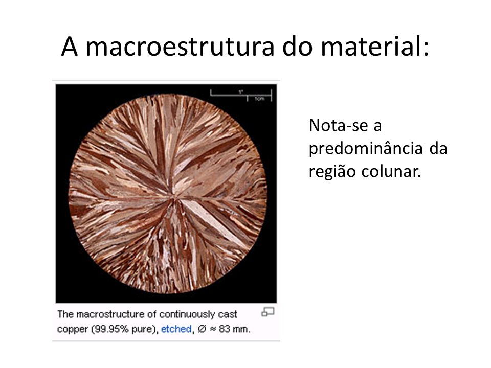 A macroestrutura do material: