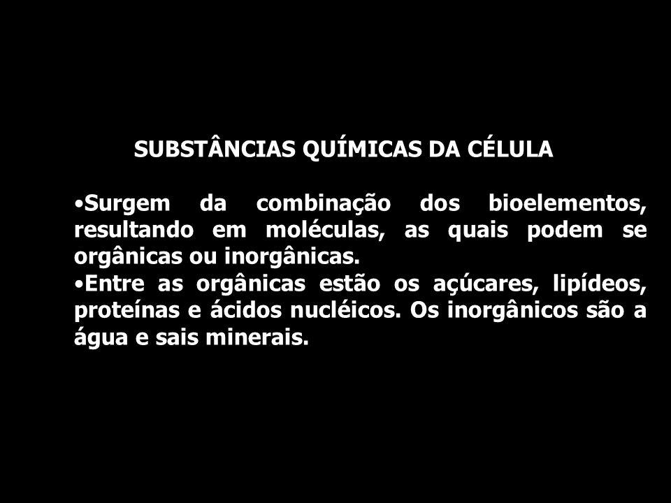 SUBSTÂNCIAS QUÍMICAS DA CÉLULA