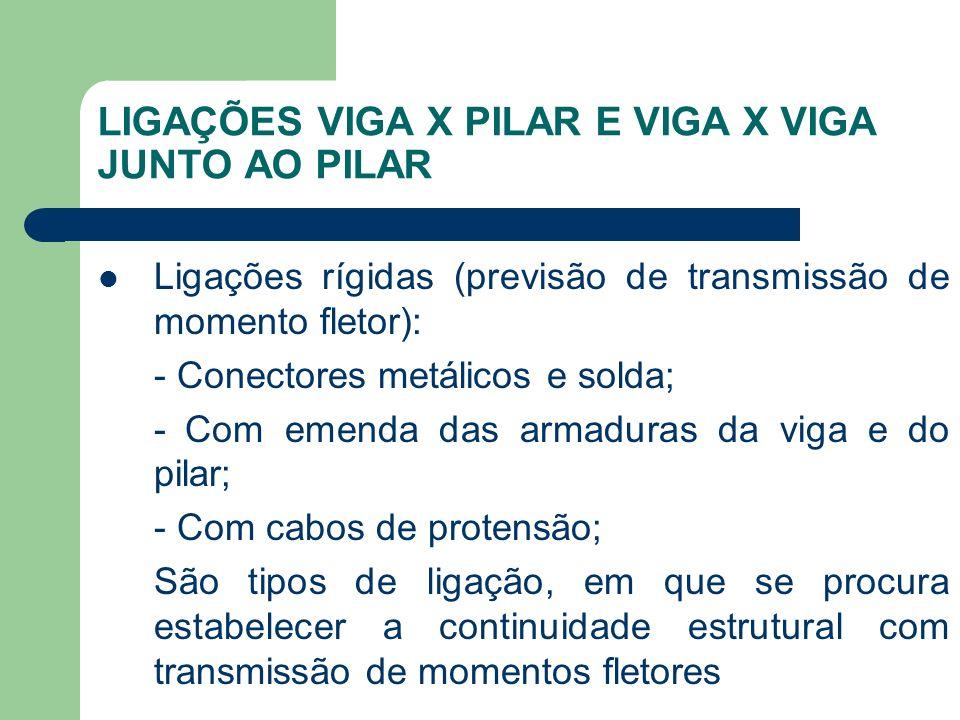 LIGAÇÕES VIGA X PILAR E VIGA X VIGA JUNTO AO PILAR